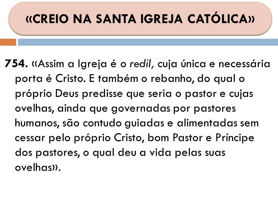 754. «Assim a Igreja é o redil, cuja única e necessária porta é Cristo. E também o rebanho, do qual o próprio Deus predisse que seria o pastor e cujas