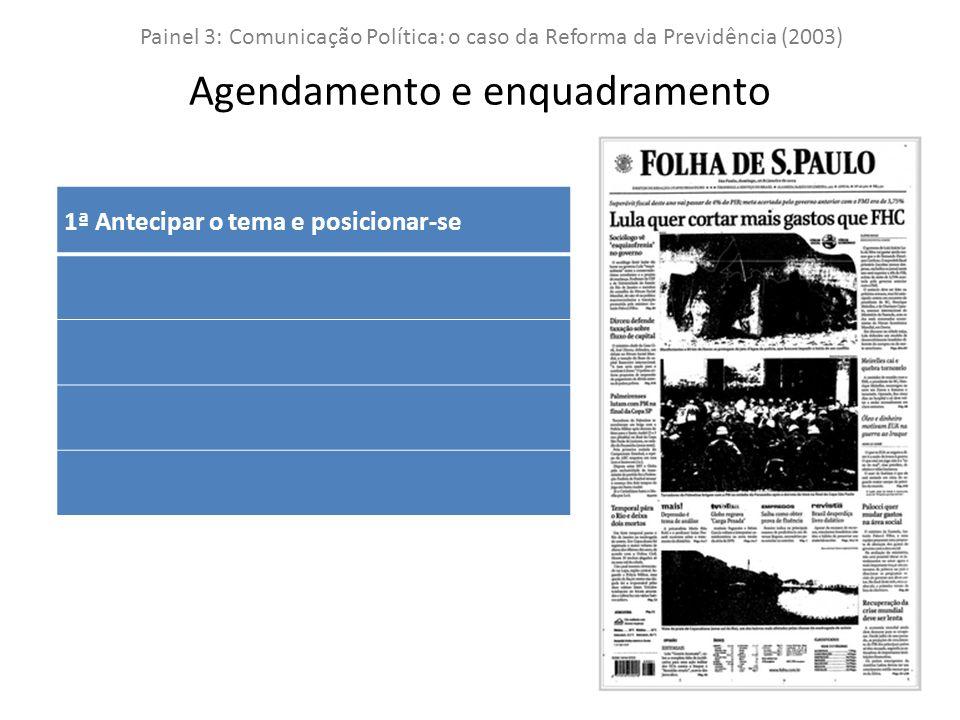 1ª Antecipar o tema e posicionar-se Painel 3: Comunicação Política: o caso da Reforma da Previdência (2003) Agendamento e enquadramento