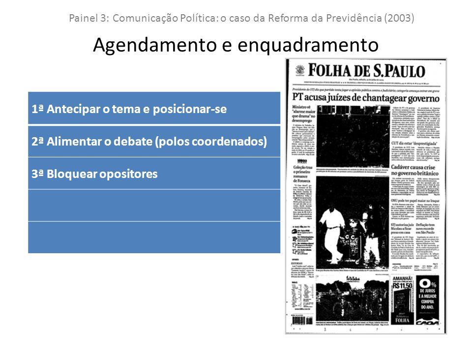 Painel 3: Comunicação Política: o caso da Reforma da Previdência (2003) Agendamento e enquadramento 1ª Antecipar o tema e posicionar-se 2ª Alimentar o debate (polos coordenados) 3ª Bloquear opositores