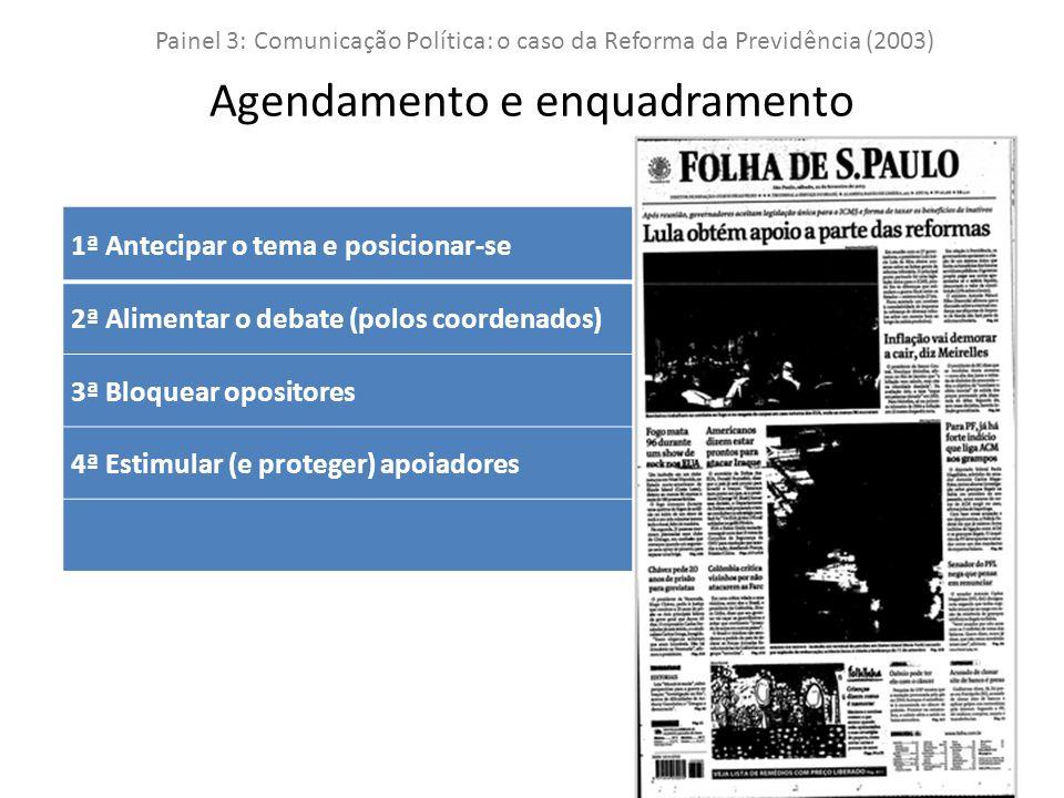 Painel 3: Comunicação Política: o caso da Reforma da Previdência (2003) Agendamento e enquadramento 1ª Antecipar o tema e posicionar-se 2ª Alimentar o debate (polos coordenados) 3ª Bloquear opositores 4ª Estimular (e proteger) apoiadores