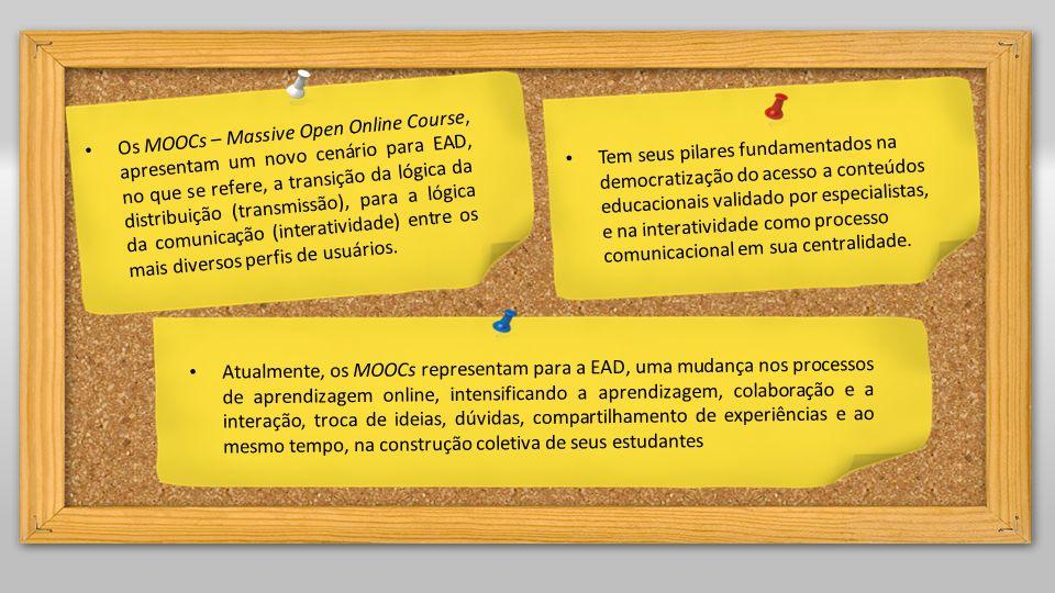 Os MOOCs – Massive Open Online Course, apresentam um novo cenário para EAD, no que se refere, a transição da lógica da distribuição (transmissão), par