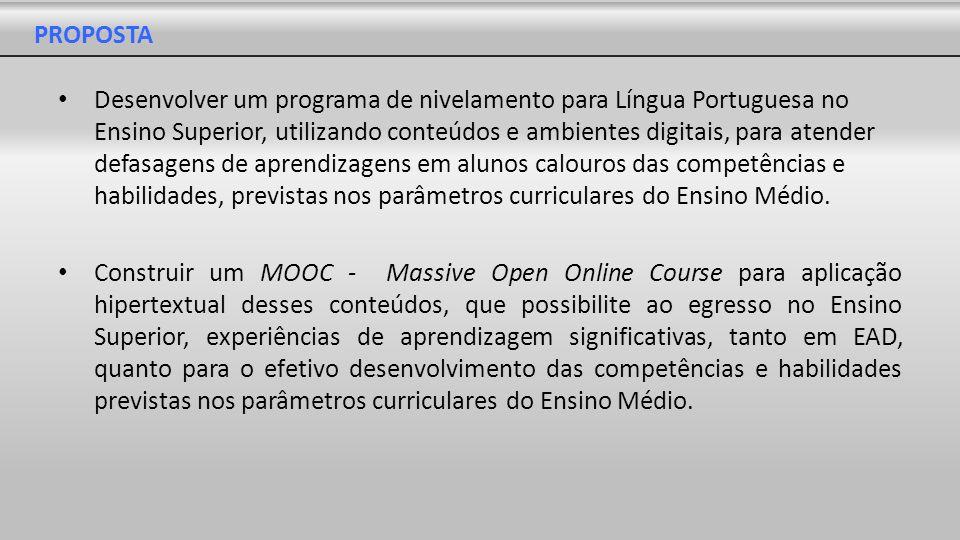PROPOSTA Desenvolver um programa de nivelamento para Língua Portuguesa no Ensino Superior, utilizando conteúdos e ambientes digitais, para atender def