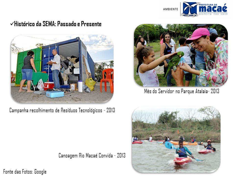 Histórico da SEMA: Passado e Presente Campanha recolhimento de Resíduos Tecnológicos - 2013 Mês do Servidor no Parque Atalaia- 2013 Canoagem Rio Macaé