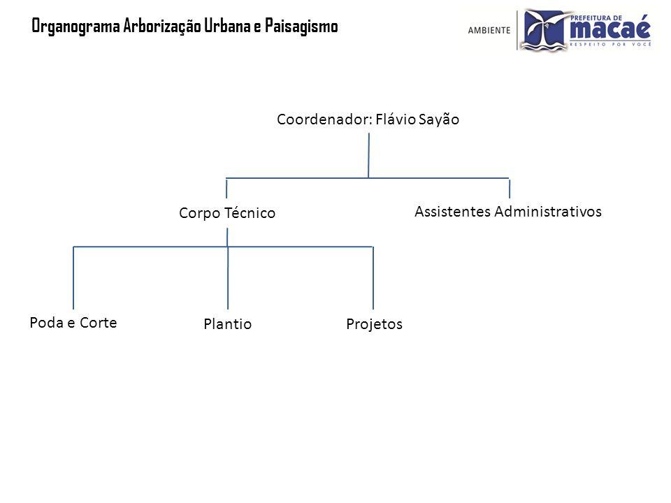 Organograma Arborização Urbana e Paisagismo Coordenador: Flávio Sayão Assistentes Administrativos Corpo Técnico Poda e Corte PlantioProjetos