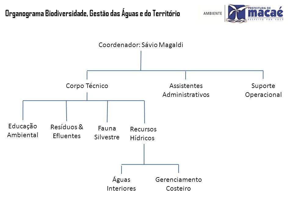 Organograma Biodiversidade, Gestão das Águas e do Território Coordenador: Sávio Magaldi Assistentes Administrativos Corpo Técnico Recursos Hídricos Re
