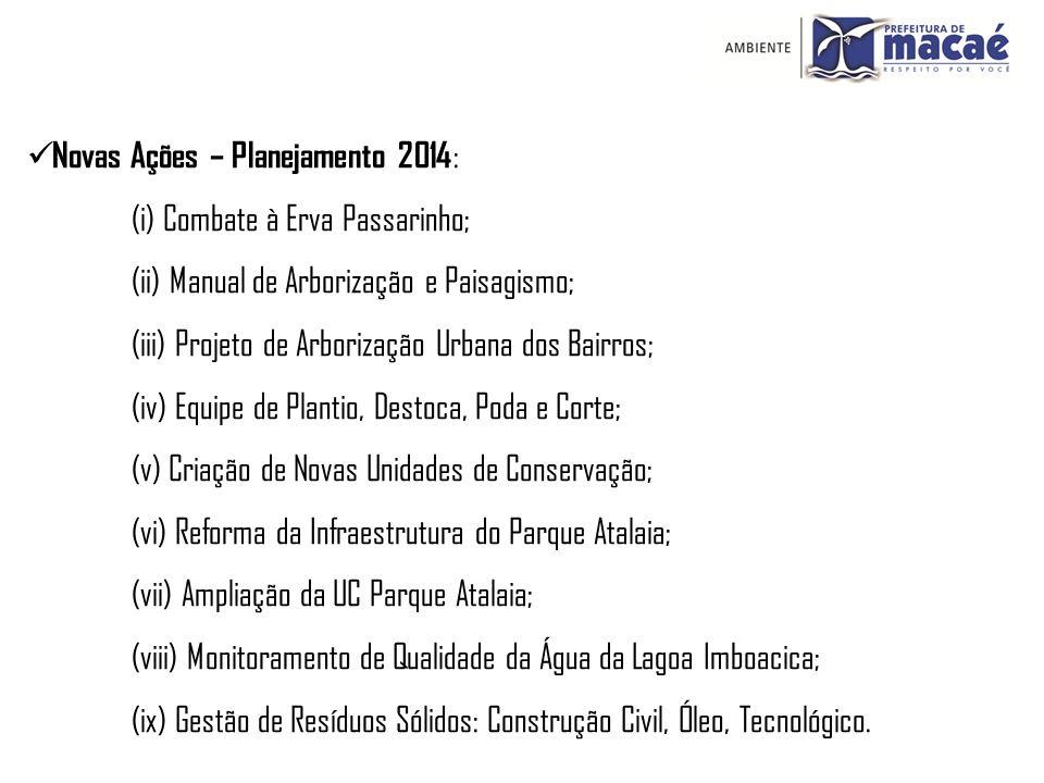 Novas Ações – Planejamento 2014 : (i) Combate à Erva Passarinho; (ii) Manual de Arborização e Paisagismo; (iii) Projeto de Arborização Urbana dos Bair