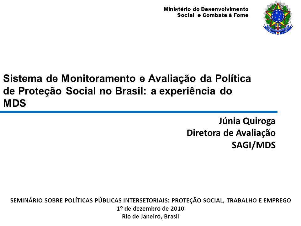 Ministério do Desenvolvimento Social e Combate à Fome Informações Gerenciais http://www.mds.gov.br/sagi/ Acesso web: Sociedade civil; Gestão governamental em todos os níveis.