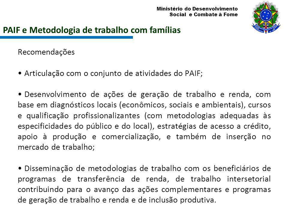 Ministério do Desenvolvimento Social e Combate à Fome PAIF e Metodologia de trabalho com famílias Recomendações Articulação com o conjunto de atividad