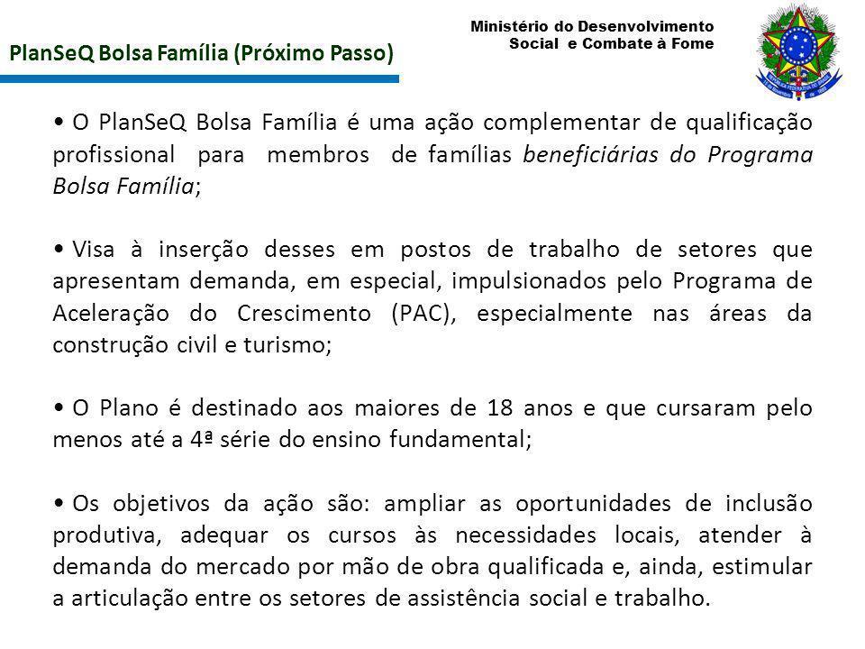 Ministério do Desenvolvimento Social e Combate à Fome PlanSeQ Bolsa Família (Próximo Passo) O PlanSeQ Bolsa Família é uma ação complementar de qualifi