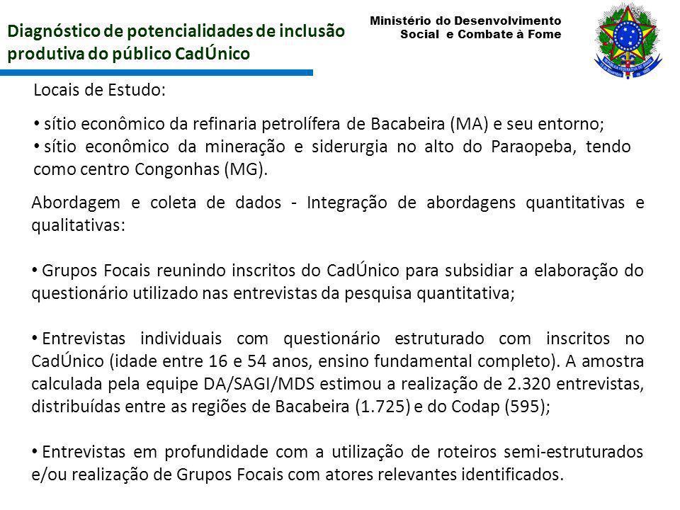 Ministério do Desenvolvimento Social e Combate à Fome Diagnóstico de potencialidades de inclusão produtiva do público CadÚnico Locais de Estudo: sítio