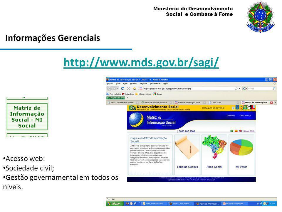 Ministério do Desenvolvimento Social e Combate à Fome Informações Gerenciais http://www.mds.gov.br/sagi/ Acesso web: Sociedade civil; Gestão govername