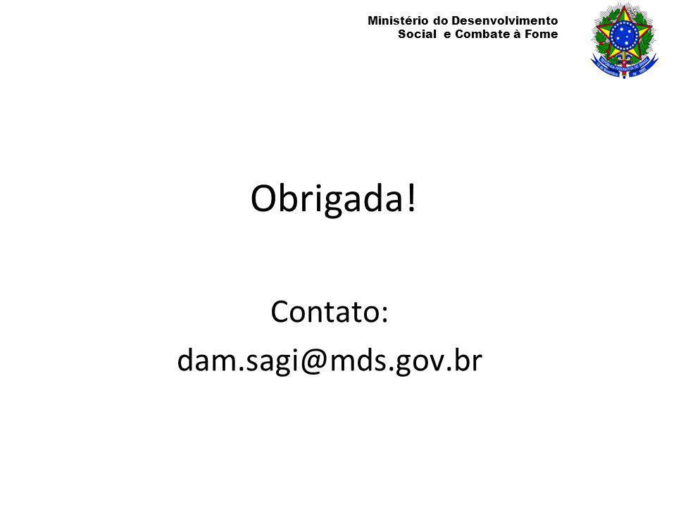 Ministério do Desenvolvimento Social e Combate à Fome Obrigada! Contato: dam.sagi@mds.gov.br