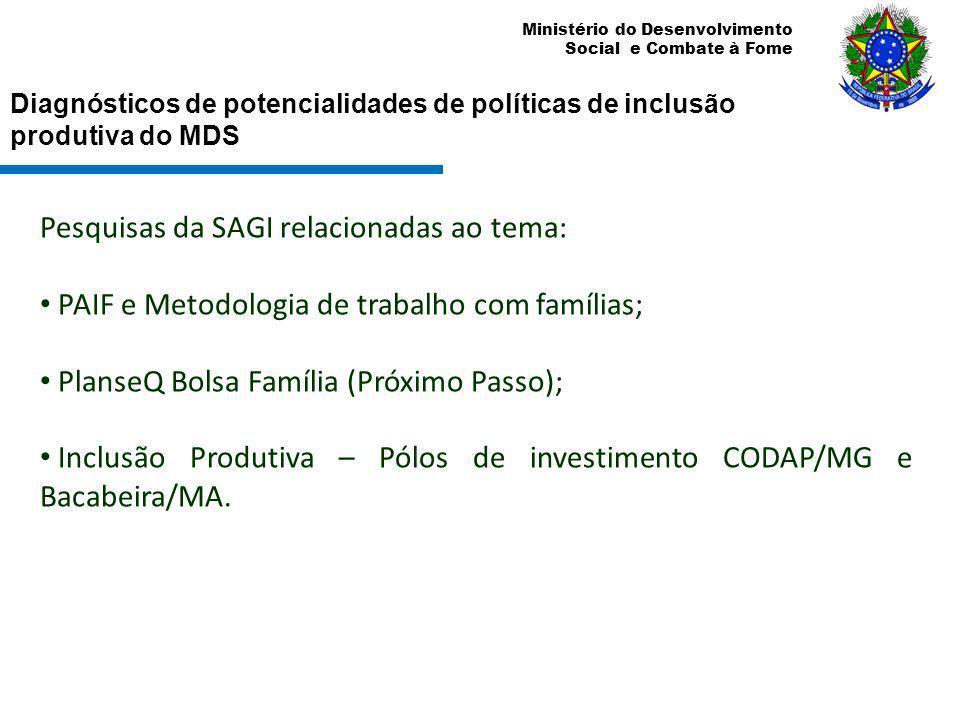 Ministério do Desenvolvimento Social e Combate à Fome Diagnósticos de potencialidades de políticas de inclusão produtiva do MDS Pesquisas da SAGI rela