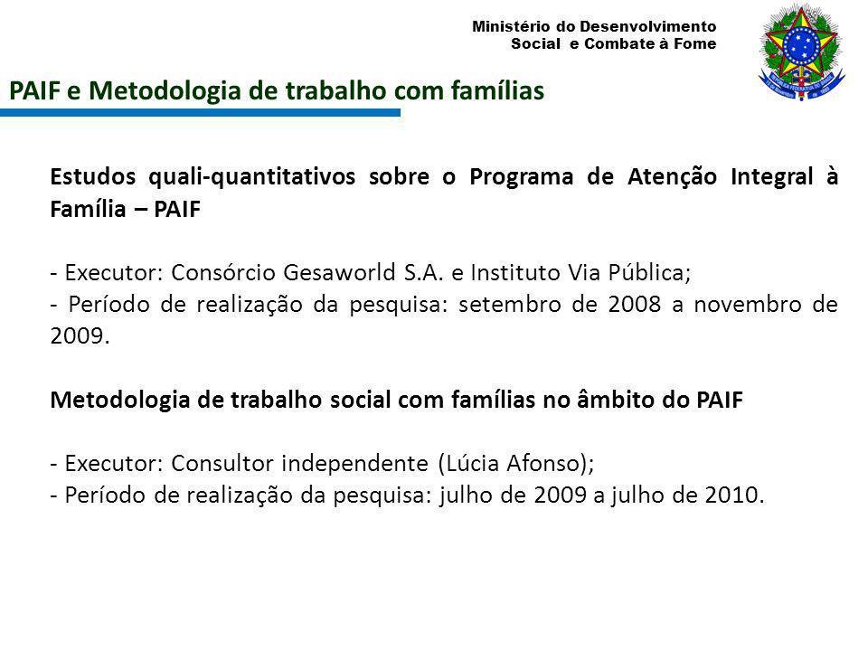 Ministério do Desenvolvimento Social e Combate à Fome Estudos quali-quantitativos sobre o Programa de Atenção Integral à Família – PAIF - Executor: Co