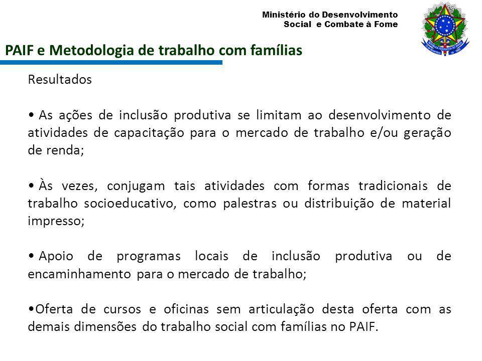 Ministério do Desenvolvimento Social e Combate à Fome PAIF e Metodologia de trabalho com famílias Resultados As ações de inclusão produtiva se limitam