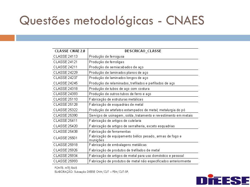 Questões metodológicas - CNAES FONTE: MTE/RAIS ELABORAÇÃO: Subseção DIEESE CNM/CUT – FEM/CUT-SP.