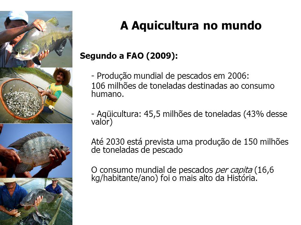 A Aquicultura no mundo Segundo a FAO (2009): - Produção mundial de pescados em 2006: 106 milhões de toneladas destinadas ao consumo humano. - Aqüicult