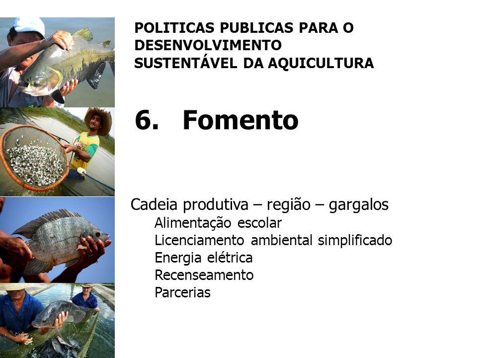 POLITICAS PUBLICAS PARA O DESENVOLVIMENTO SUSTENTÁVEL DA AQUICULTURA 6.Fomento Cadeia produtiva – região – gargalos Alimentação escolar Licenciamento