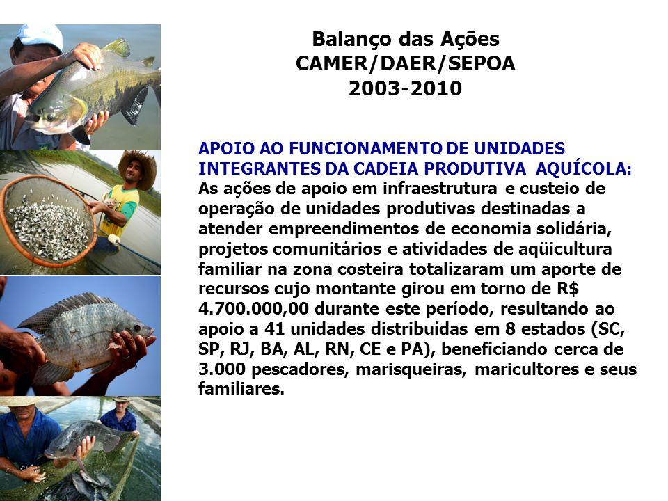 Balanço das Ações CAMER/DAER/SEPOA 2003-2010 APOIO AO FUNCIONAMENTO DE UNIDADES INTEGRANTES DA CADEIA PRODUTIVA AQUÍCOLA: As ações de apoio em infraes