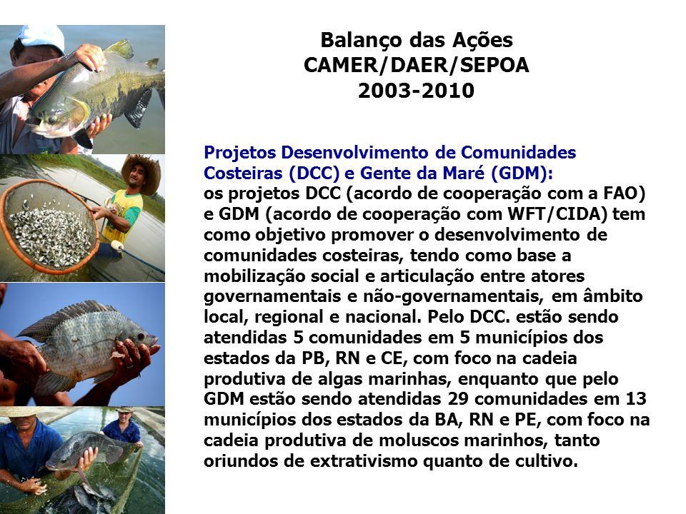Balanço das Ações CAMER/DAER/SEPOA 2003-2010 Projetos Desenvolvimento de Comunidades Costeiras (DCC) e Gente da Maré (GDM): os projetos DCC (acordo de