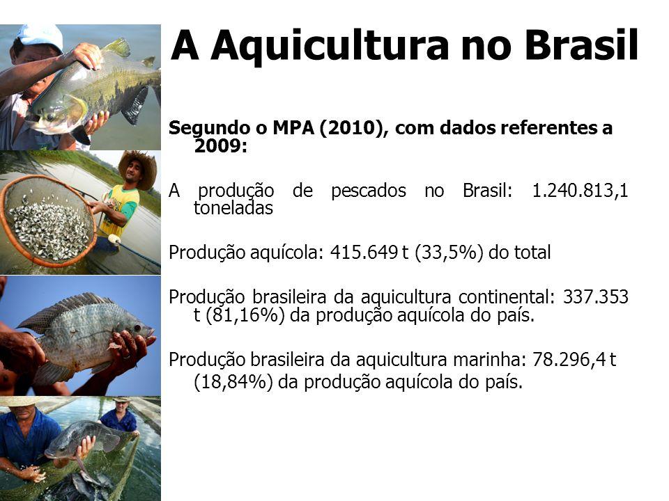 A Aquicultura no Brasil Segundo o MPA (2010), com dados referentes a 2009: A produção de pescados no Brasil: 1.240.813,1 toneladas Produção aquícola: