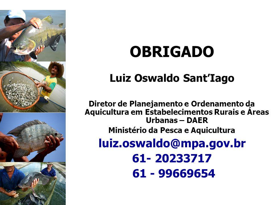 OBRIGADO Luiz Oswaldo SantIago Diretor de Planejamento e Ordenamento da Aquicultura em Estabelecimentos Rurais e Áreas Urbanas – DAER Ministério da Pe