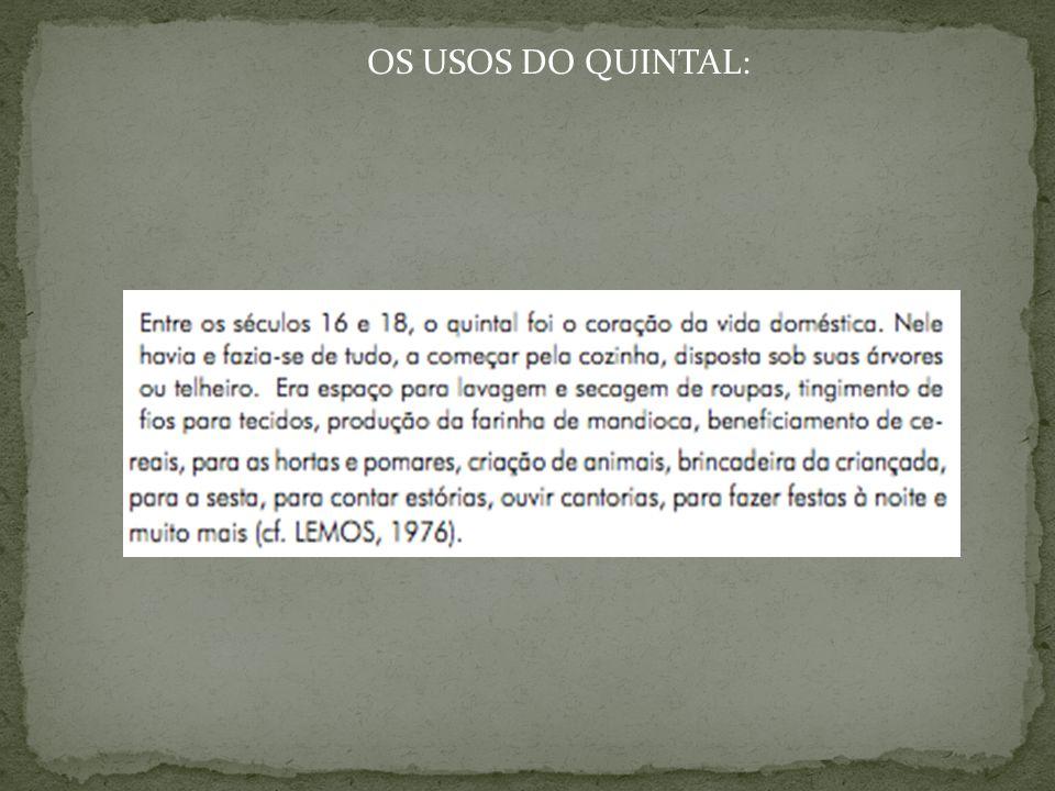 OS USOS DO QUINTAL: