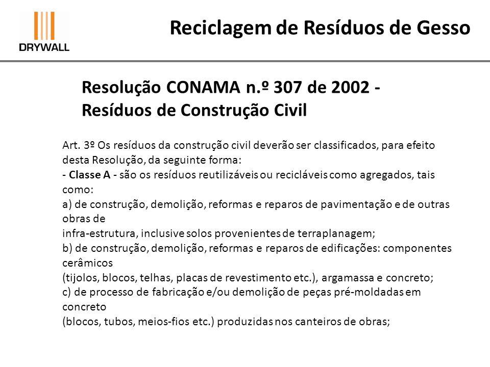 Resolução CONAMA n.º 307 de 2002 - Resíduos de Construção Civil Reciclagem de Resíduos de Gesso - Classe B - são os resíduos recicláveis para outras destinações, tais como: plásticos,papel/papelão, metais, vidros, madeiras e outros; -Classe C - são os resíduos para os quais não foram desenvolvidas tecnologias ou aplicações economicamente viáveis que permitam a sua reciclagem/recuperação, tais como os produtos oriundos do gesso;