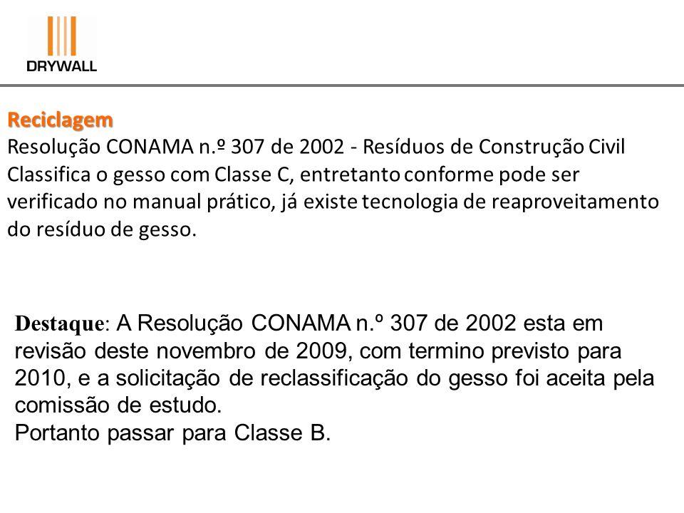 Reciclagem Resolução CONAMA n.º 307 de 2002 - Resíduos de Construção Civil Classifica o gesso com Classe C, entretanto conforme pode ser verificado no