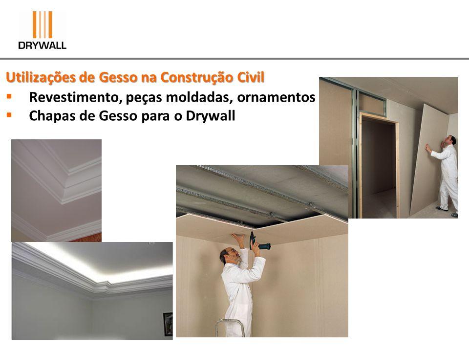 Utilizações de Gesso na Construção Civil Revestimento, peças moldadas, ornamentos Chapas de Gesso para o Drywall