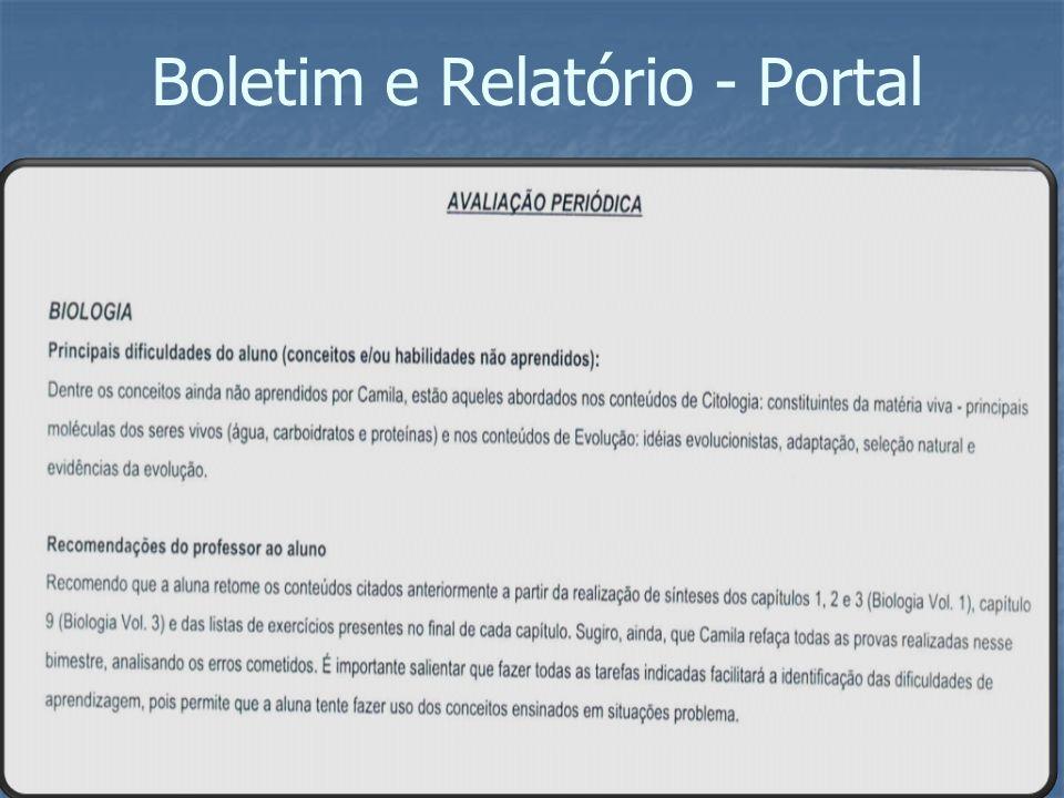 Boletim e Relatório - Portal