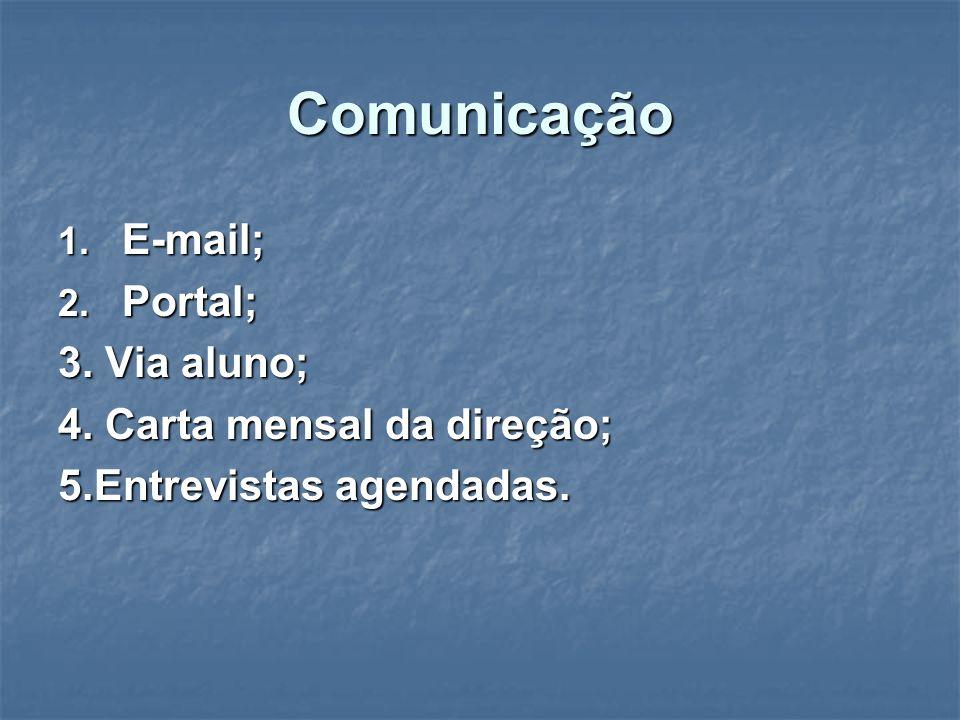 Comunicação 1. E-mail; 2. Portal; 3. Via aluno; 4.