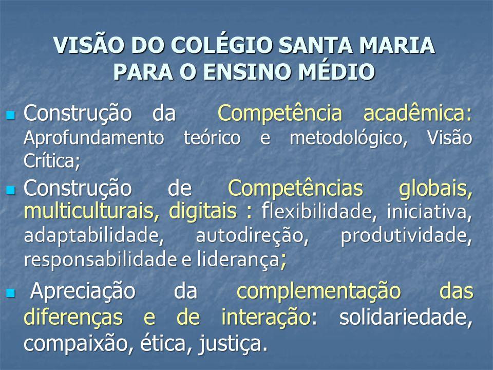 VISÃO DO COLÉGIO SANTA MARIA PARA O ENSINO MÉDIO Construção da Competência acadêmica: Aprofundamento teórico e metodológico, Visão Crítica; Construção da Competência acadêmica: Aprofundamento teórico e metodológico, Visão Crítica; Construção de Competências globais, multiculturais, digitais : f lexibilidade, iniciativa, adaptabilidade, autodireção, produtividade, responsabilidade e liderança ; Construção de Competências globais, multiculturais, digitais : f lexibilidade, iniciativa, adaptabilidade, autodireção, produtividade, responsabilidade e liderança ; Apreciação da complementação das diferenças e de interação: solidariedade, compaixão, ética, justiça.