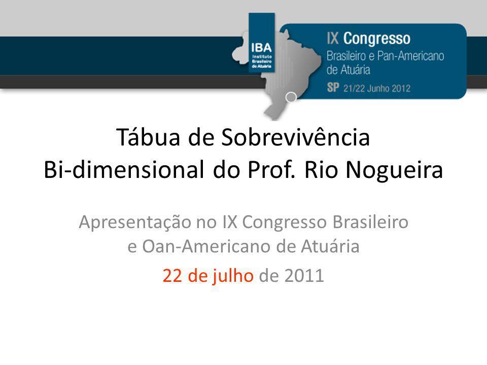 Tábua de Sobrevivência Bi-dimensional do Prof. Rio Nogueira Apresentação no IX Congresso Brasileiro e Oan-Americano de Atuária 22 de julho de 2011