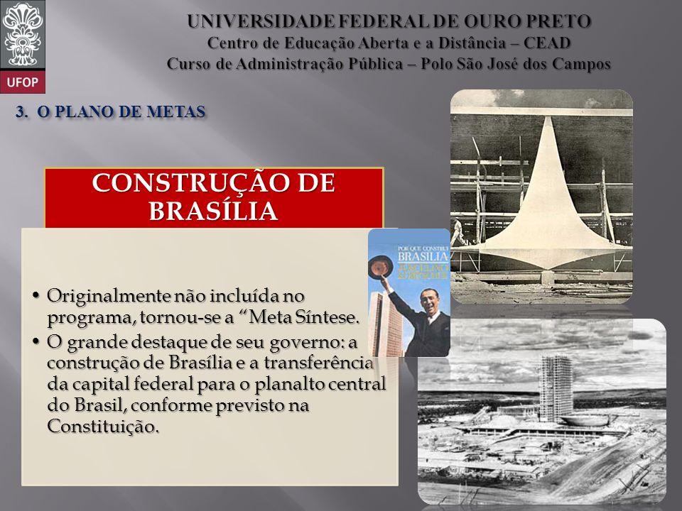 CONSTRUÇÃO DE BRASÍLIA Originalmente não incluída no programa, tornou-se a Meta Síntese.Originalmente não incluída no programa, tornou-se a Meta Sínte