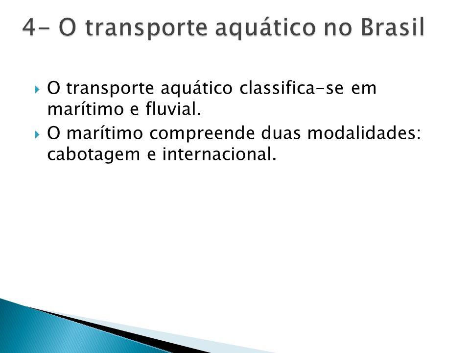 O transporte aquático classifica-se em marítimo e fluvial.