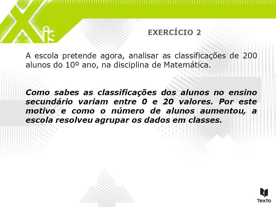 EXERCÍCIO 2 A escola pretende agora, analisar as classificações de 200 alunos do 10º ano, na disciplina de Matemática. Como sabes as classificações do