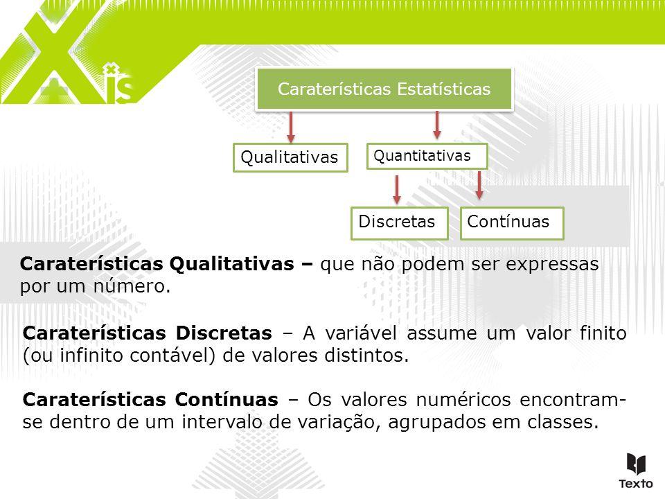 Caraterísticas Estatísticas Qualitativas DiscretasContínuas Quantitativas Caraterísticas Qualitativas – que não podem ser expressas por um número. Car
