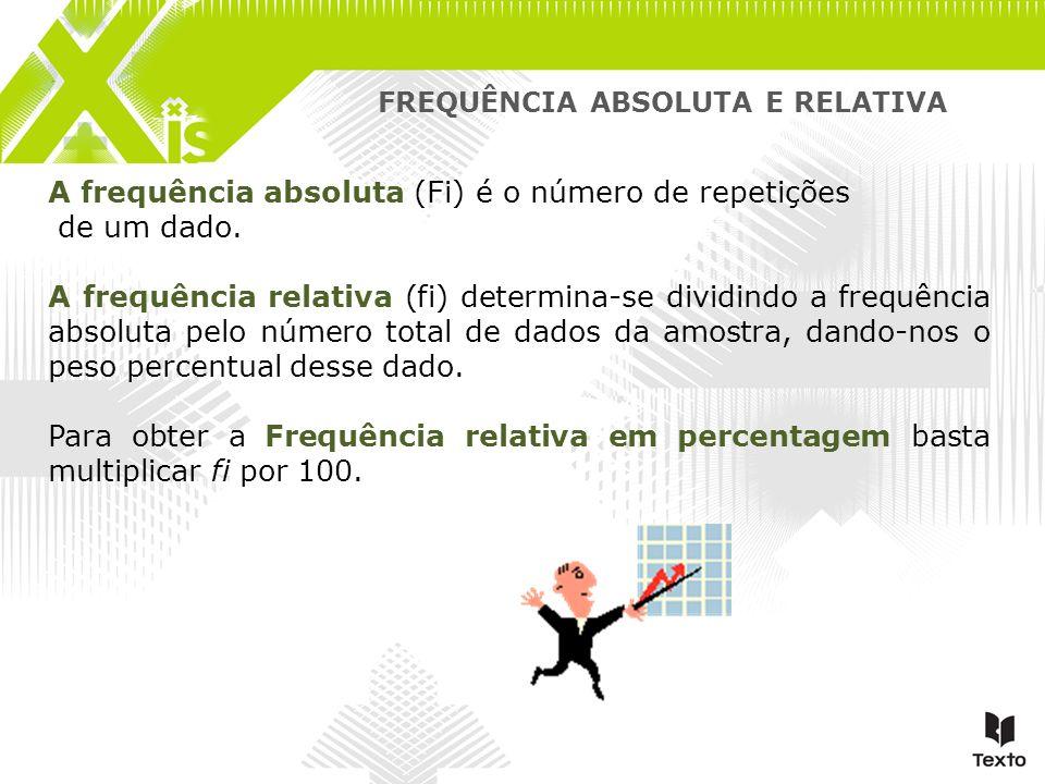 FREQUÊNCIA ABSOLUTA E RELATIVA A frequência absoluta (Fi) é o número de repetições de um dado. A frequência relativa (fi) determina-se dividindo a fre