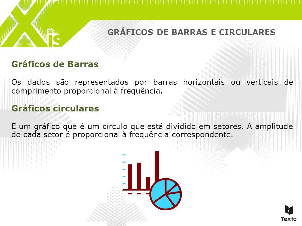 GRÁFICOS DE BARRAS E CIRCULARES Gráficos de Barras Os dados são representados por barras horizontais ou verticais de comprimento proporcional à frequê