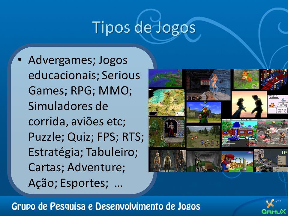 Tipos de Jogos Advergames; Jogos educacionais; Serious Games; RPG; MMO; Simuladores de corrida, aviões etc; Puzzle; Quiz; FPS; RTS; Estratégia; Tabule