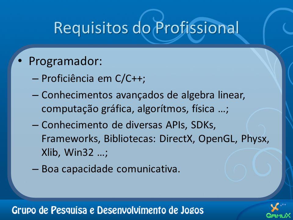 Requisitos do Profissional Programador: – Proficiência em C/C++; – Conhecimentos avançados de algebra linear, computação gráfica, algorítmos, física …