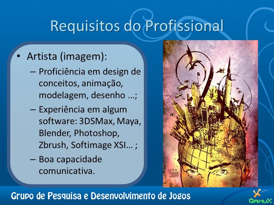 Requisitos do Profissional Artista (imagem): – Proficiência em design de conceitos, animação, modelagem, desenho …; – Experiência em algum software: 3