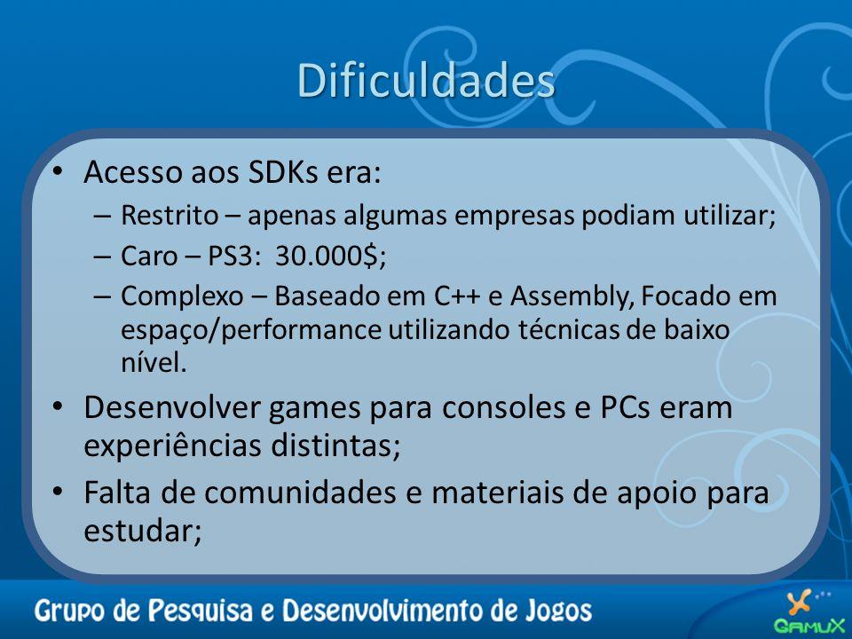Dificuldades Acesso aos SDKs era: – Restrito – apenas algumas empresas podiam utilizar; – Caro – PS3: 30.000$; – Complexo – Baseado em C++ e Assembly,