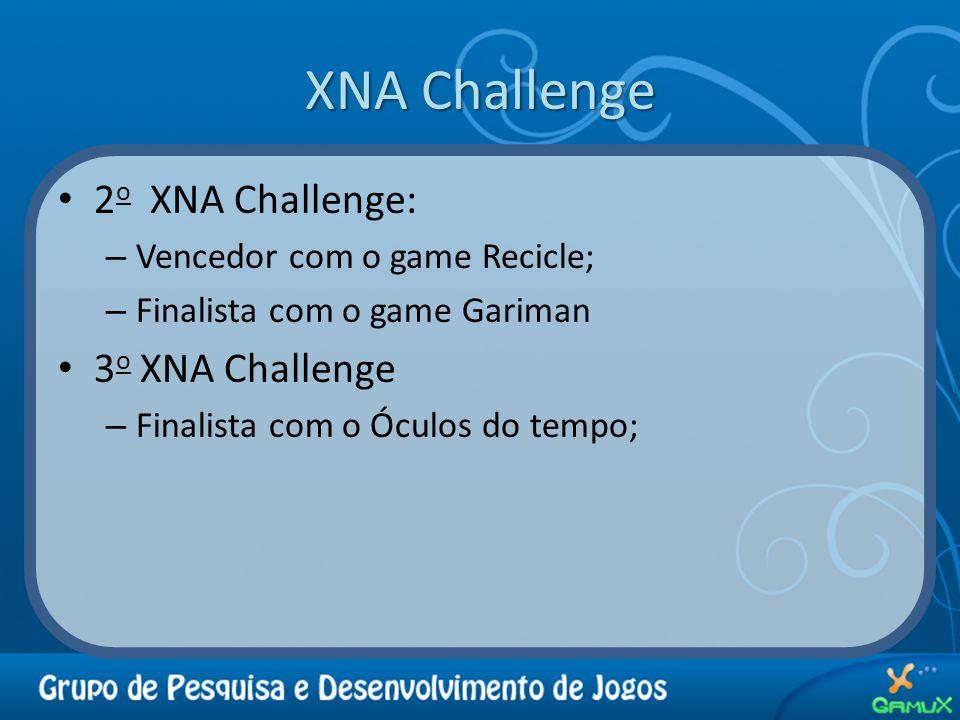XNA Challenge 2 o XNA Challenge: – Vencedor com o game Recicle; – Finalista com o game Gariman 3 o XNA Challenge – Finalista com o Óculos do tempo;