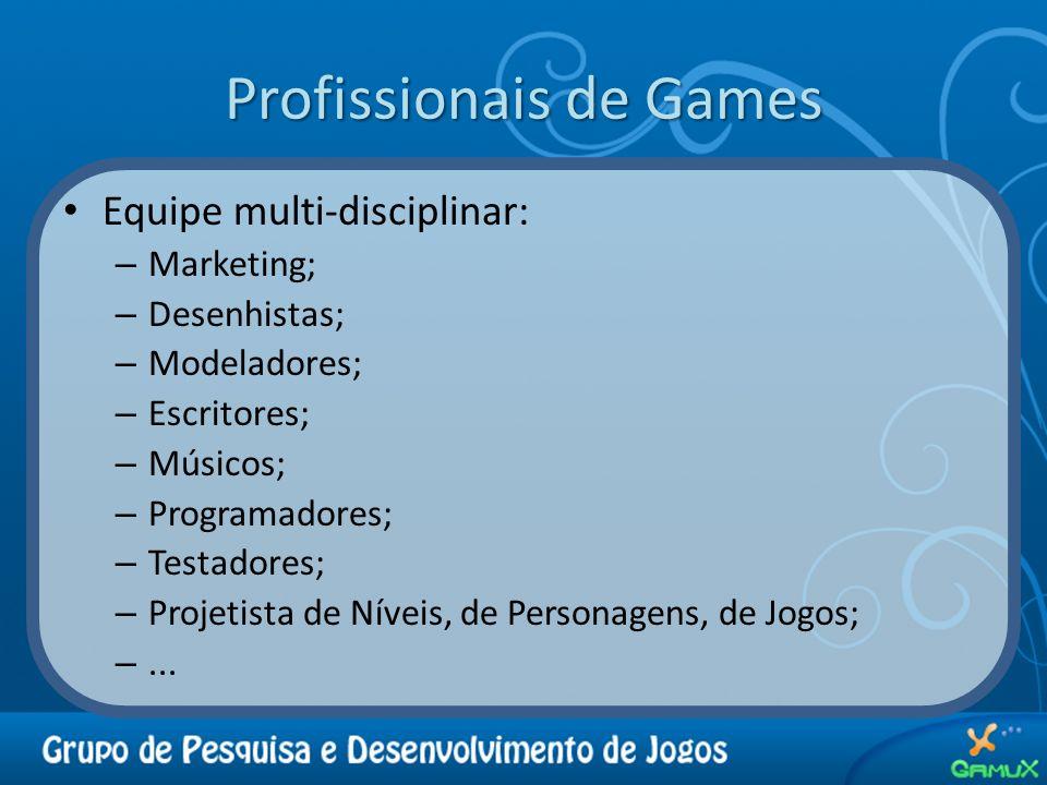 Profissionais de Games Equipe multi-disciplinar: – Marketing; – Desenhistas; – Modeladores; – Escritores; – Músicos; – Programadores; – Testadores; –