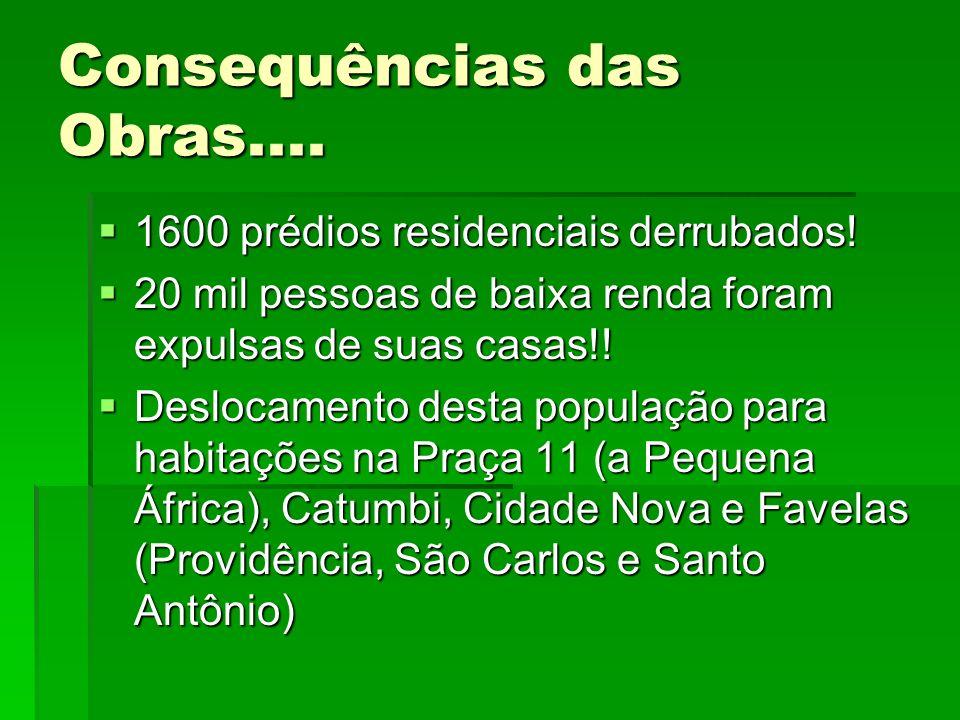 Consequências das Obras.... 1600 prédios residenciais derrubados! 20 mil pessoas de baixa renda foram expulsas de suas casas!! Deslocamento desta popu