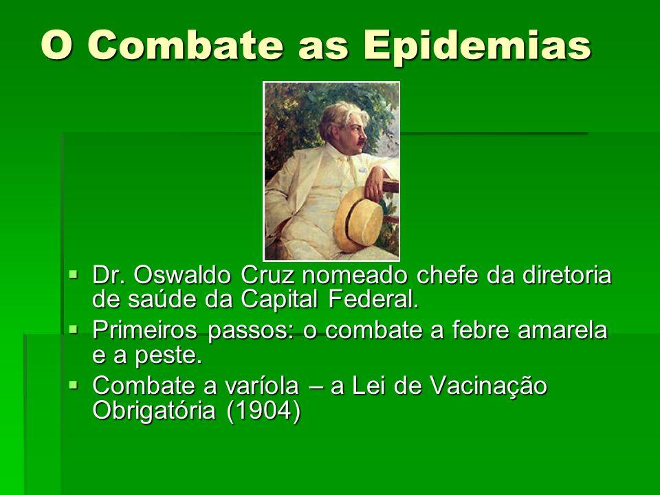 O Combate as Epidemias Dr. Oswaldo Cruz nomeado chefe da diretoria de saúde da Capital Federal. Dr. Oswaldo Cruz nomeado chefe da diretoria de saúde d