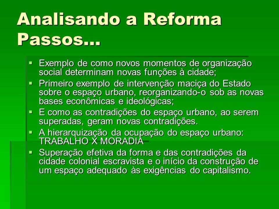 Analisando a Reforma Passos... Exemplo de como novos momentos de organização social determinam novas funções à cidade; Exemplo de como novos momentos