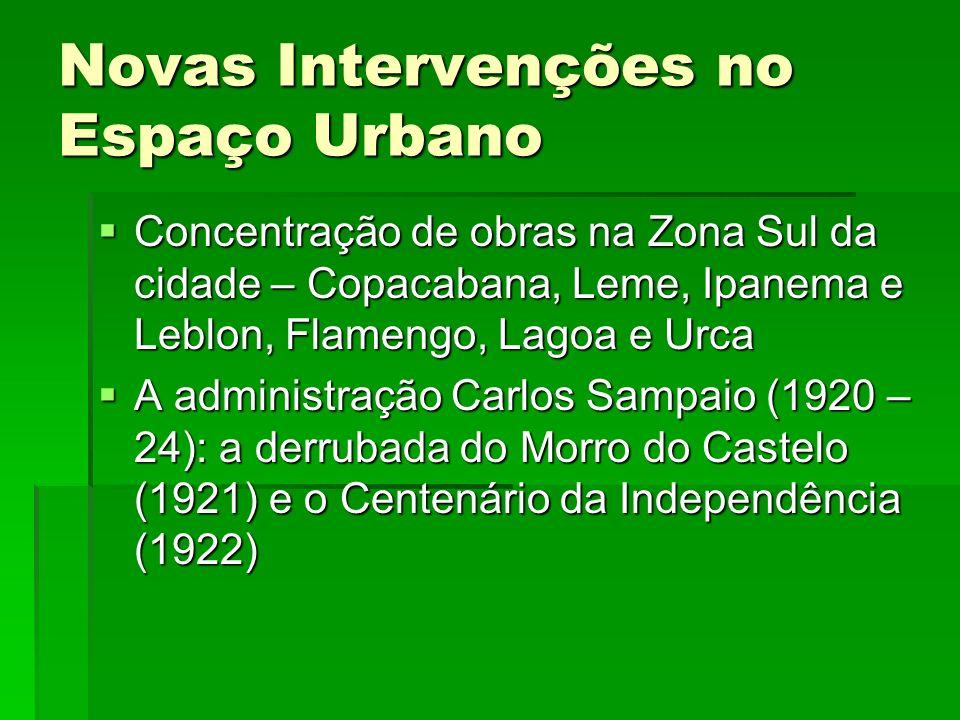 Novas Intervenções no Espaço Urbano Concentração de obras na Zona Sul da cidade – Copacabana, Leme, Ipanema e Leblon, Flamengo, Lagoa e Urca Concentra